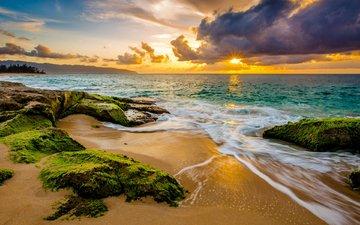 небо, облака, солнце, камни, волны, закат, пейзаж, море, песок, пляж, горизонт, рассвет, побережье, океан, водоросли, тропики, гавайи
