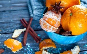 корица, фрукты, мандарины, цитрусы, анис, бадьян