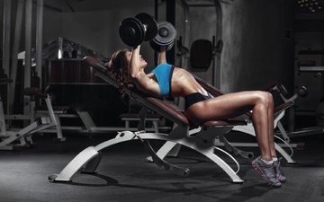 girl, brunette, model, figure, fitness, dumbbells, trainer