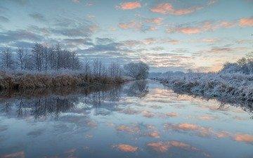 небо, облака, деревья, озеро, природа, лес, зима, пейзаж, иней