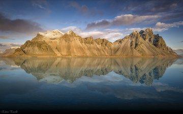 небо, облака, озеро, горы, отражение, пейзаж, исландия, vestrahorn, auster-skaftafellssysla