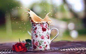 напиток, цветок, роза, кофе, кружка, всплеск, капучино