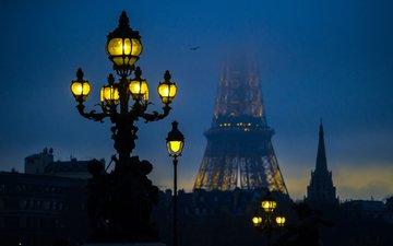 свет, ночь, город, париж, фонарь, франция, эйфелева башня