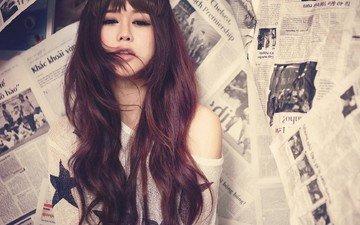девушка, настроение, фон, взгляд, волосы, азиатка, газеты