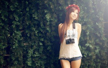девушка, настроение, улыбка, взгляд, фотоаппарат, азиатка, шорты