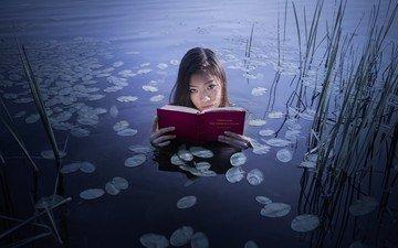 lake, nature, girl, mood, look, book, asian