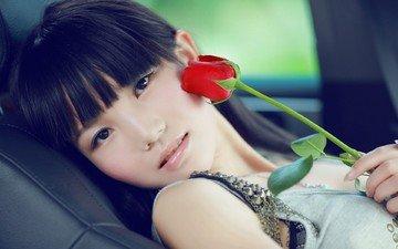 девушка, настроение, цветок, роза, взгляд, волосы, лицо, азиатка