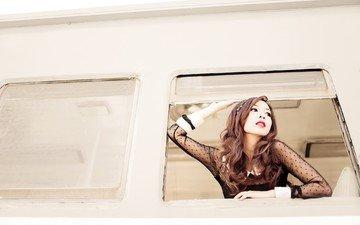 девушка, настроение, взгляд, поезд, лицо, азиатка