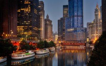 вечер, река, город, причал, небоскребы, дома, сша, катер, чикаго, мичиган, b. joensson