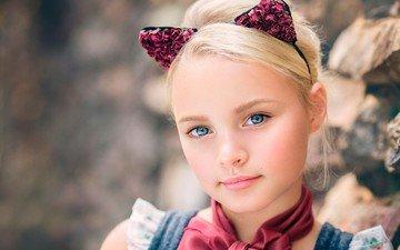 портрет, взгляд, дети, девочка, волосы, ушки, лицо, голубые глаза, ashlyn mae