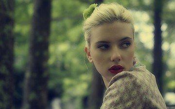 девушка, блондинка, актриса, красные губы, скарлетт йохансон