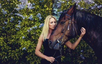 horse, girl, dress, blonde, the bushes, foliage, garden, lilac, in black