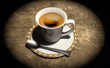 кофе, блюдце, чашка, ложка