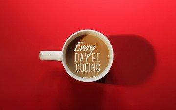 надпись, кофе, чашка, красный фон