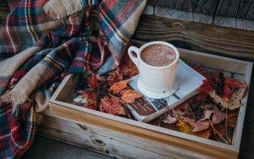 листья, кофе, чашка, плед, книга