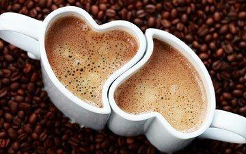 кофе, сердце, любовь, кофейные зерна, чашки, пенка