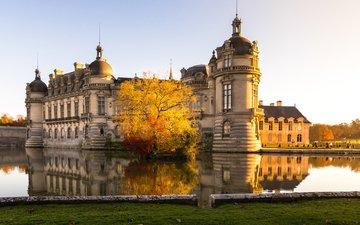 lake, castle, france, chantilly castle, chateau, chateau de chantilly, chantilly