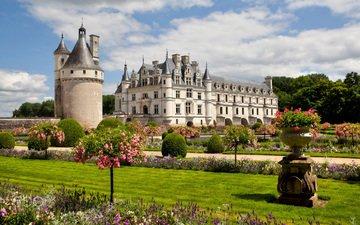 парк, замок, архитектура, шенонсо, chateau de chenonceau