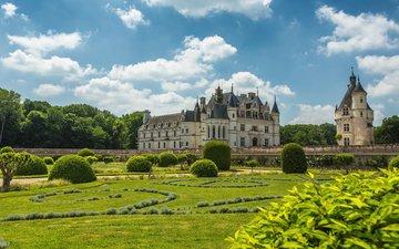 парк, замок, архитектура, франция, chateau de chenonceau, луара