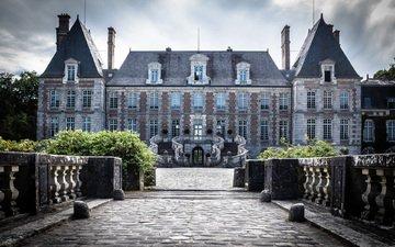парк, замок, архитектура, франция, château de courances, шато, шато де куранс