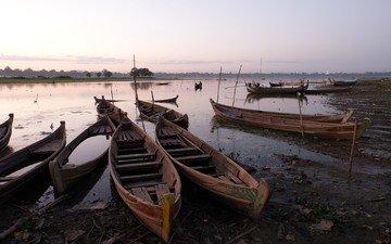 небо, река, природа, берег, лодки