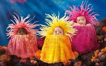 children, kids, corals, costumes, babies