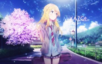 девушка, блондинка, взгляд, аниме, волосы, сакура, частици, миленькая, голубое небо, школьная форма, miyazono kaori, your lie in april