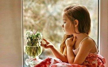 цветы, дети, девочка, профиль, волосы, лицо, окно