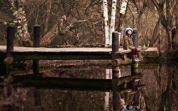 озеро, мостик, отражение, девочка