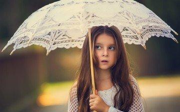 настроение, фон, девочка, зонт, ребенок, зонтик, кружева, длинные волосы