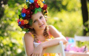 цветы, дети, девочка, волосы, лицо, ребенок, венок, косички