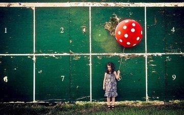 background, wall, children, girl, ball, a balloon