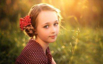 sunset, background, look, children, girl, hair, face, berries, child, rowan