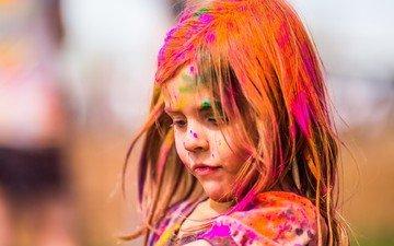 paint, children, girl, hair, face, child