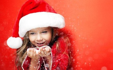 new year, children, girl, hair, hands, christmas hat