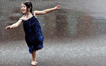 платье, улыбка, город, дети, девочка, дождь, волосы, лицо