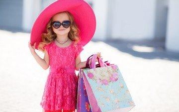 платье, очки, дети, девочка, шляпа, пакеты