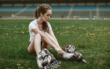 grass, girl, brunette, look, sitting, hair, videos, anton harisov, elena borisova, roller skates