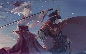 petals, cape, military uniform, sakura saber, demon archer, the fate of a large order