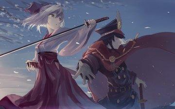 лепестки, мыс, военная форма, сакура saber, demon арчер, судьба большой заказ