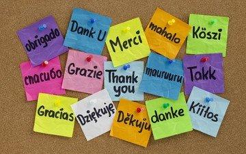 надпись, доска, разноцветные, кнопки, слово, стикеры, спасибо