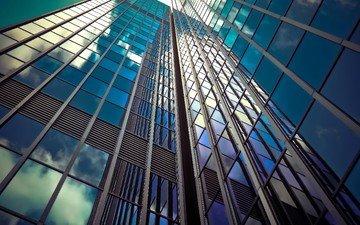 небоскребы, архитектура, здание, окна, стекло, фасад