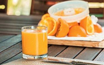 апельсины, стакан, цитрусы, сок, фреш