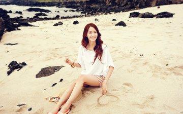 девушка, настроение, улыбка, песок, пляж, взгляд, азиатка, юонна, girls' generation