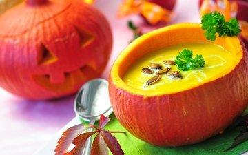 тыква, семечки, петрушка, суп, пюре, суп-пюре, тыквенный суп