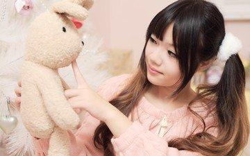 girl, mood, look, toy, hair, face, asian