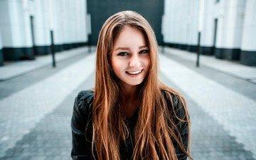 девушка, улыбка, взгляд, волосы, лицо, георгий чернядьев, настя