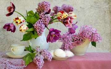 flowers, bouquet, tulips, cup, tea, napkin, lilac, marshmallows, still life