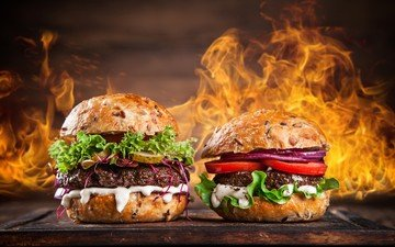flame, fire, hamburger, burger, fast food