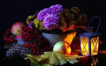 цветы, листья, яблоки, фонарь, шишки, натюрморт, рябина, композиция, астры